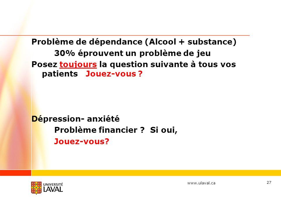 www.ulaval.ca 27 Problème de dépendance (Alcool + substance) 30% éprouvent un problème de jeu Posez toujours la question suivante à tous vos patients