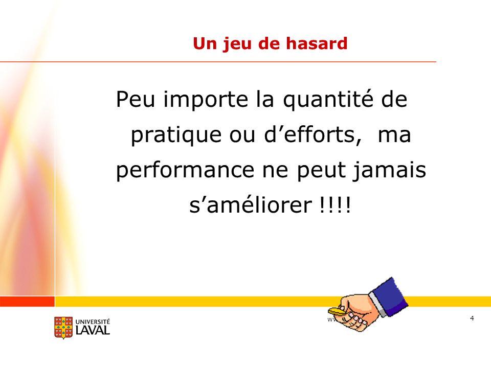 www.ulaval.ca 4 Un jeu de hasard Peu importe la quantité de pratique ou defforts, ma performance ne peut jamais saméliorer !!!!
