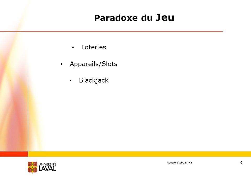www.ulaval.ca 6 Paradoxe du Jeu Loteries Appareils/Slots Blackjack