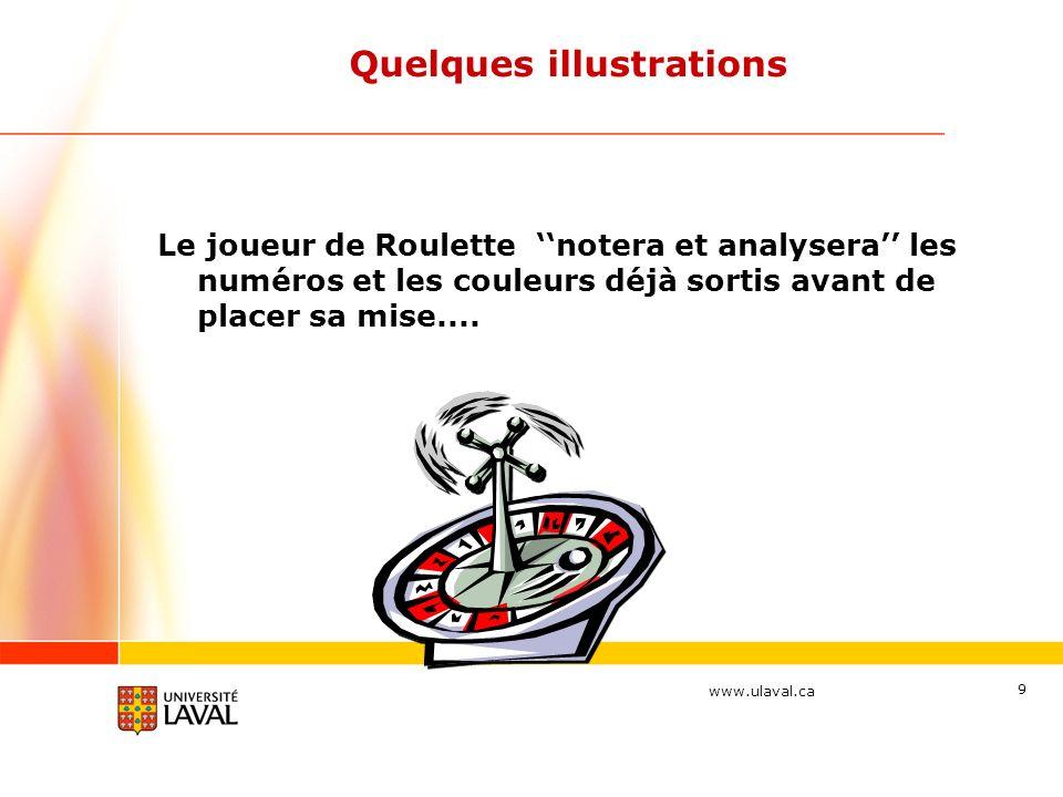 www.ulaval.ca 9 Quelques illustrations Le joueur de Roulette notera et analysera les numéros et les couleurs déjà sortis avant de placer sa mise....