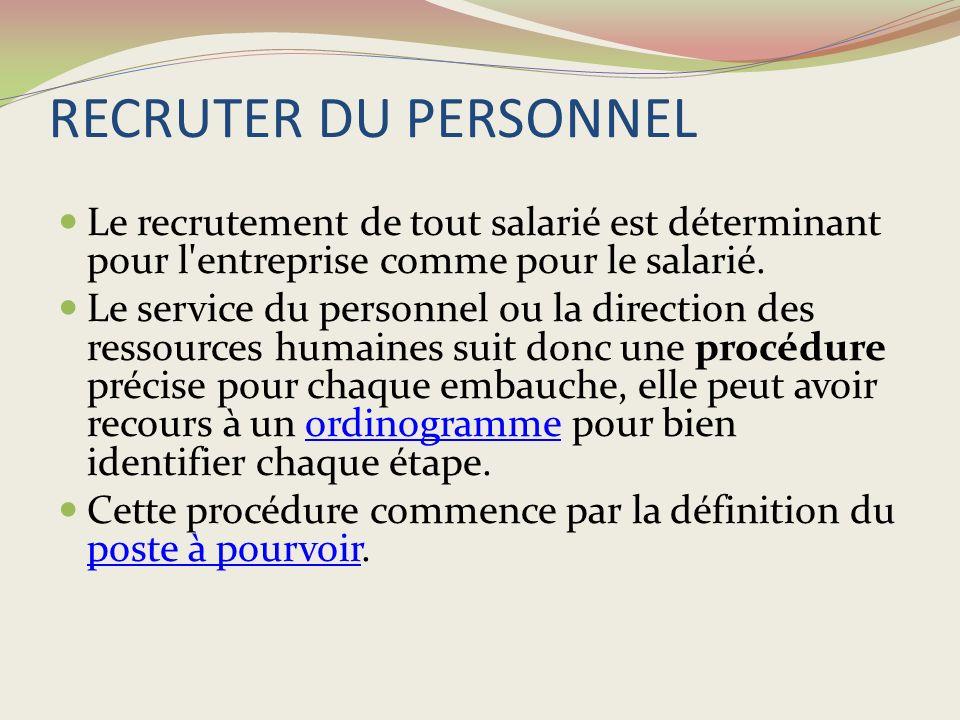 RECRUTER DU PERSONNEL Le recrutement de tout salarié est déterminant pour l entreprise comme pour le salarié.