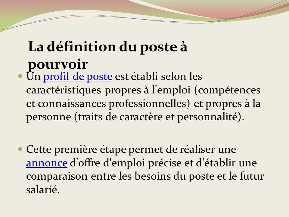 Un profil de poste est établi selon les caractéristiques propres à l emploi (compétences et connaissances professionnelles) et propres à la personne (traits de caractère et personnalité).
