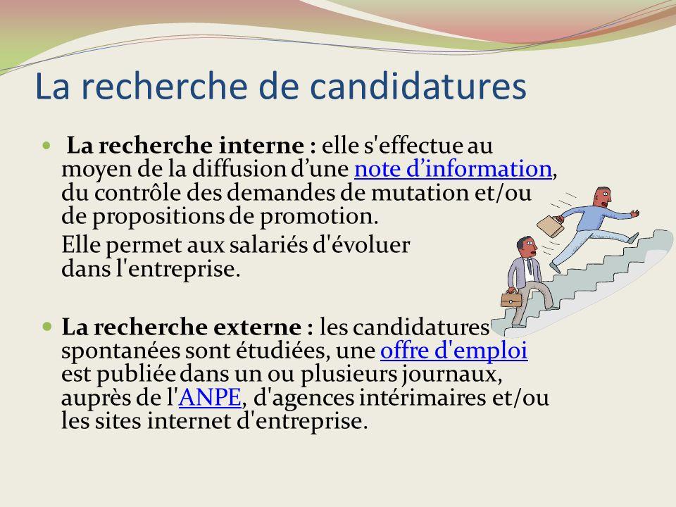 Un profil de poste est établi selon les caractéristiques propres à l'emploi (compétences et connaissances professionnelles) et propres à la personne (