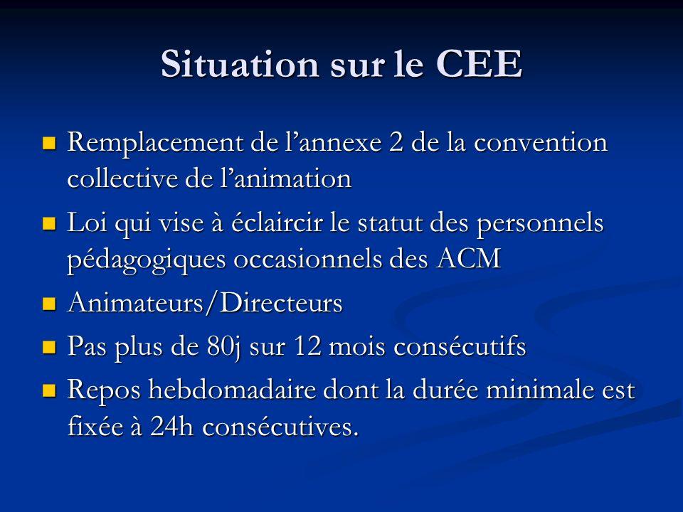 Situation sur le CEE Remplacement de lannexe 2 de la convention collective de lanimation Remplacement de lannexe 2 de la convention collective de lani