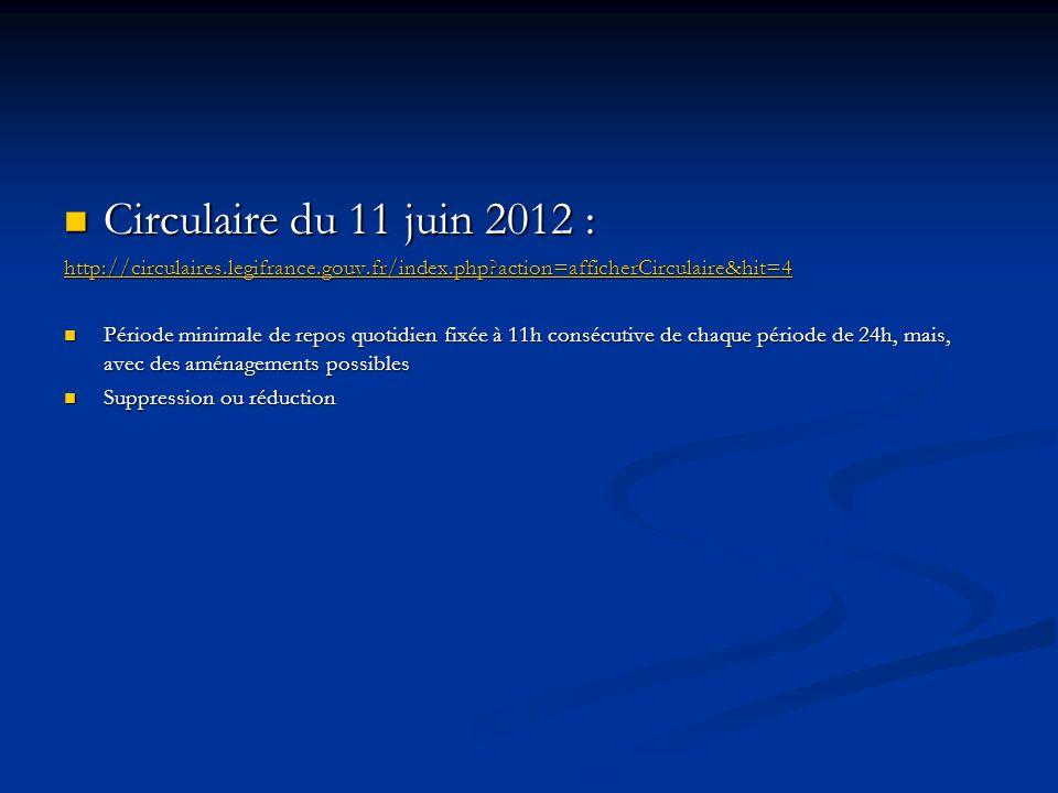 Circulaire du 11 juin 2012 : Circulaire du 11 juin 2012 : http://circulaires.legifrance.gouv.fr/index.php?action=afficherCirculaire&hit=4 Période mini