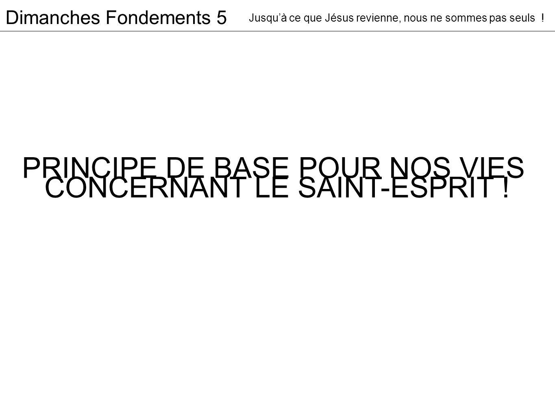 PRINCIPE DE BASE POUR NOS VIES CONCERNANT LE SAINT-ESPRIT .