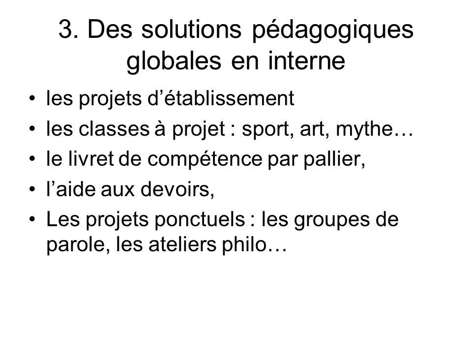 3. Des solutions pédagogiques globales en interne les projets détablissement les classes à projet : sport, art, mythe… le livret de compétence par pal