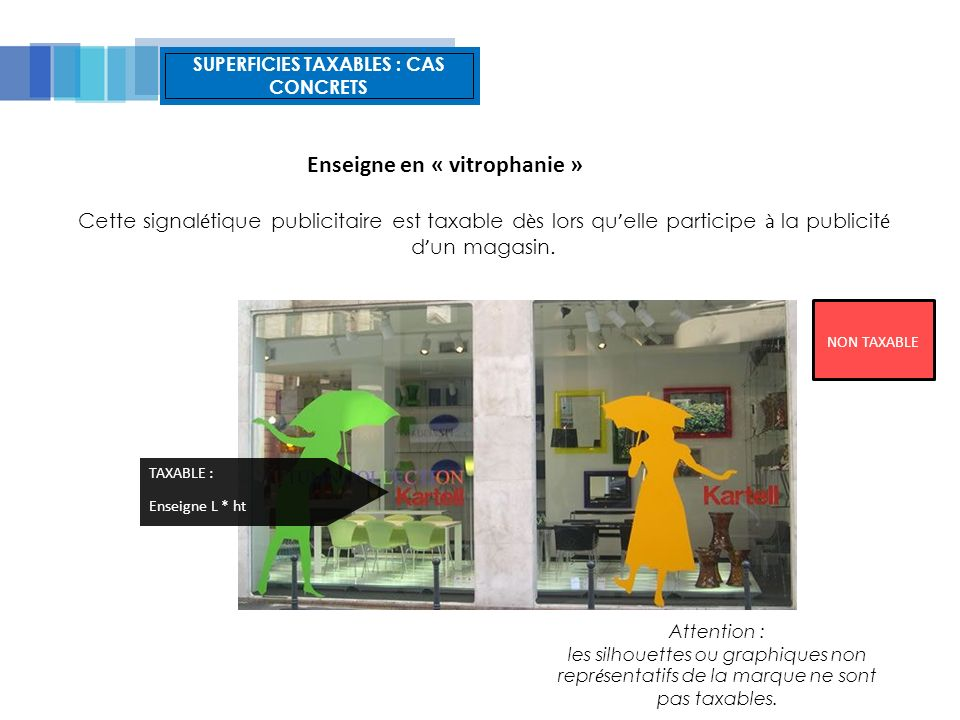 SUPERFICIES TAXABLES : CAS CONCRETS Cette signal é tique publicitaire est taxable d è s lors qu elle participe à la publicit é d un magasin.