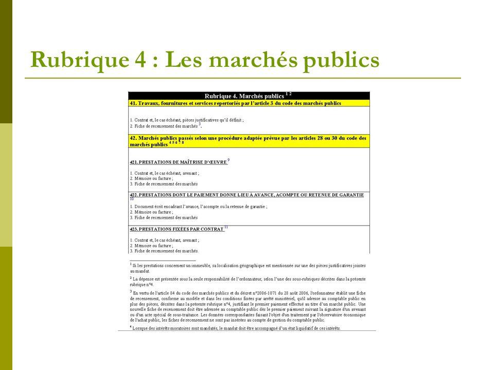 Rubrique 4 : Les marchés publics