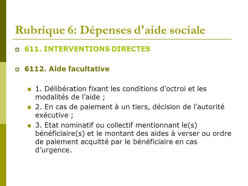 Rubrique 6: Dépenses d'aide sociale 611. INTERVENTIONS DIRECTES 6112. Aide facultative 1. Délibération fixant les conditions doctroi et les modalités