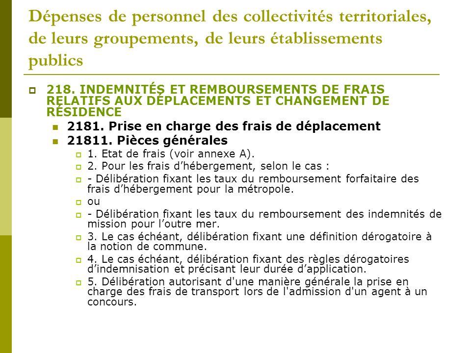 Dépenses de personnel des collectivités territoriales, de leurs groupements, de leurs établissements publics 218. INDEMNITÉS ET REMBOURSEMENTS DE FRAI