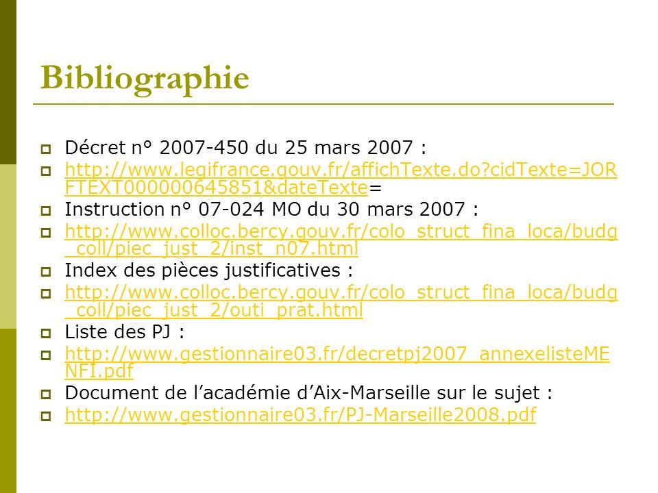 Bibliographie Décret n° 2007-450 du 25 mars 2007 : http://www.legifrance.gouv.fr/affichTexte.do?cidTexte=JOR FTEXT000000645851&dateTexte= http://www.l