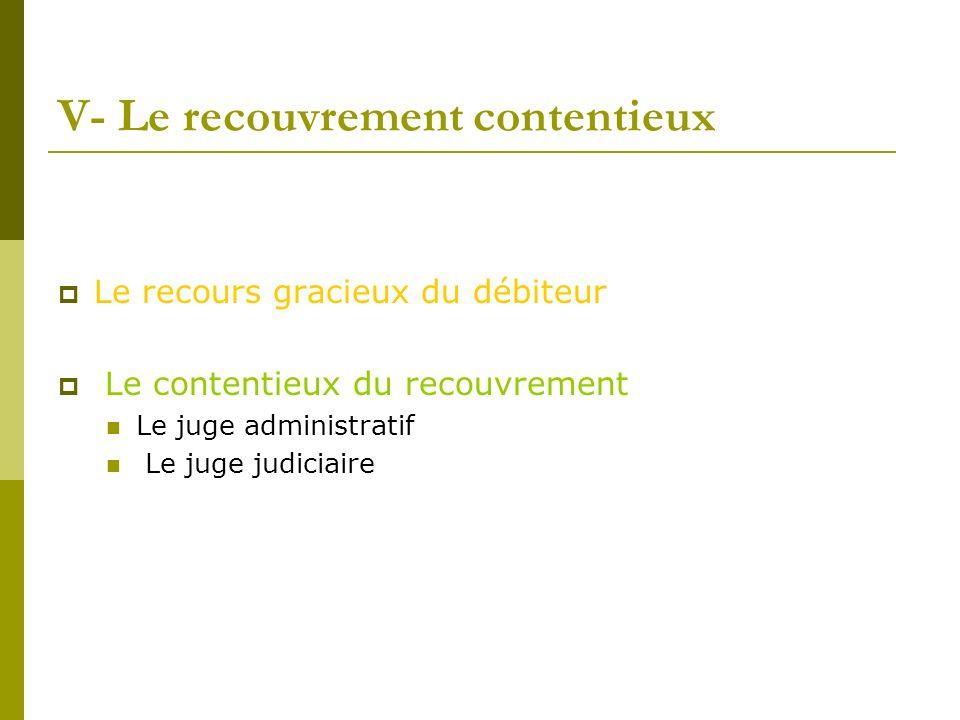 V- Le recouvrement contentieux Le recours gracieux du débiteur Le contentieux du recouvrement Le juge administratif Le juge judiciaire