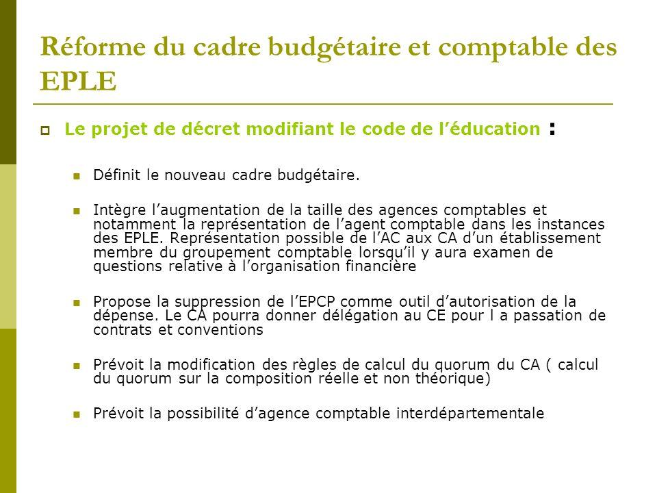 Réforme du cadre budgétaire et comptable des EPLE Le projet de décret modifiant le code de léducation : Définit le nouveau cadre budgétaire. Intègre l