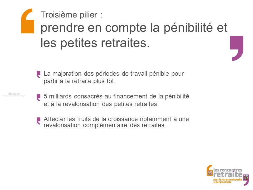 Troisième pilier : prendre en compte la pénibilité et les petites retraites.