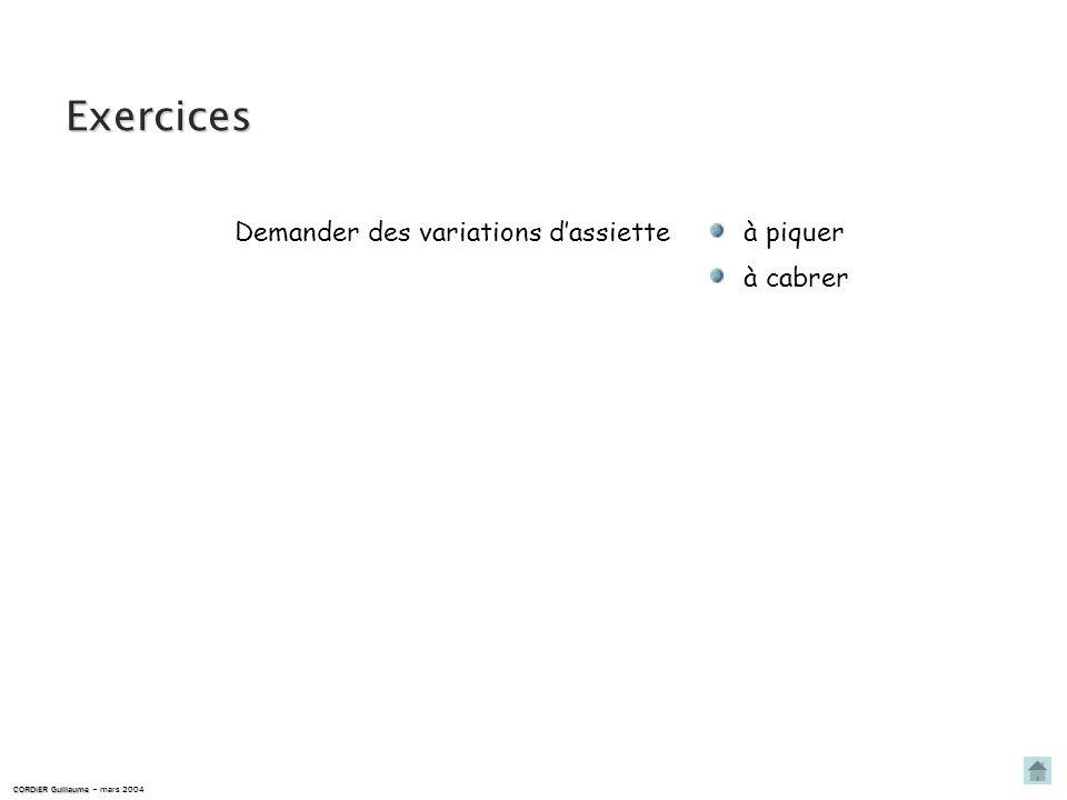Variation dassiette à cabrer A lassiette A varie à cabrer. CORDIER Guillaume CORDIER Guillaume – mars 2004 … le repère capot se déplace vers le haut :