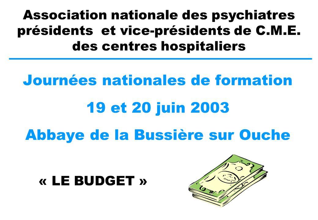 Journées nationales de formation 19 et 20 juin 2003 Abbaye de la Bussière sur Ouche Association nationale des psychiatres présidents et vice-présidents de C.M.E.