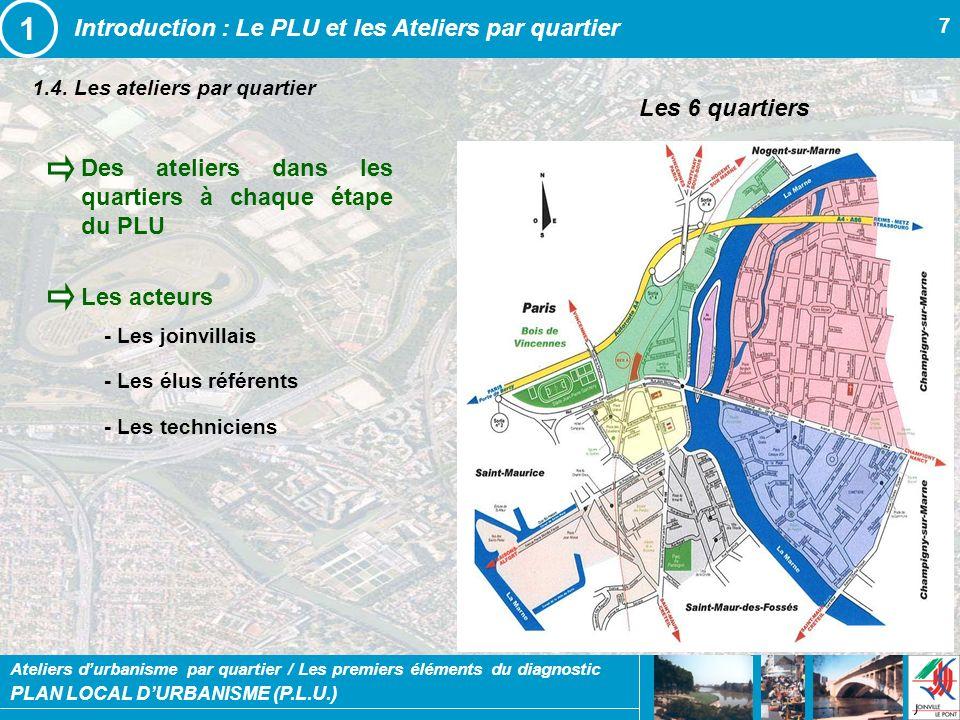 PLAN LOCAL DURBANISME (P.L.U.) Ateliers durbanisme par quartier / Les premiers éléments du diagnostic 7 1.4. Les ateliers par quartier Introduction :