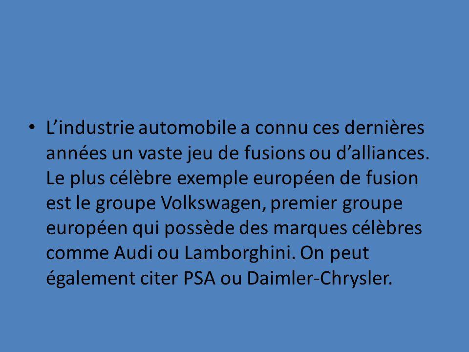 Lindustrie automobile a connu ces dernières années un vaste jeu de fusions ou dalliances. Le plus célèbre exemple européen de fusion est le groupe Vol