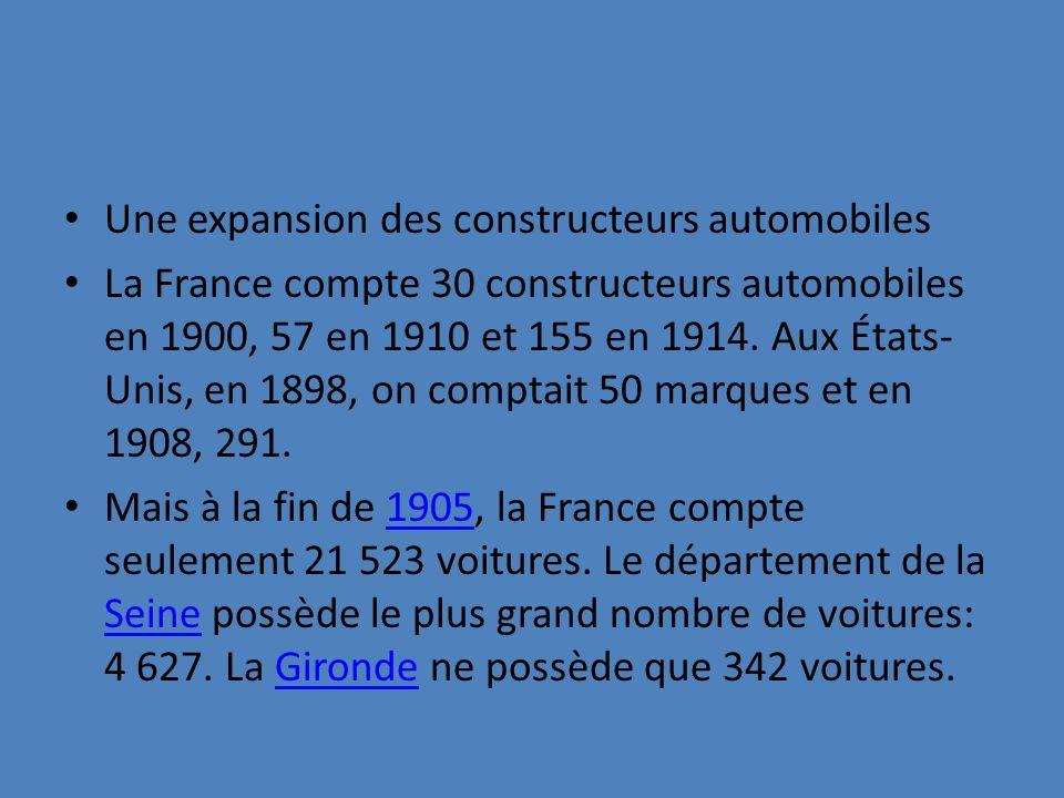 Une expansion des constructeurs automobiles La France compte 30 constructeurs automobiles en 1900, 57 en 1910 et 155 en 1914. Aux États- Unis, en 1898