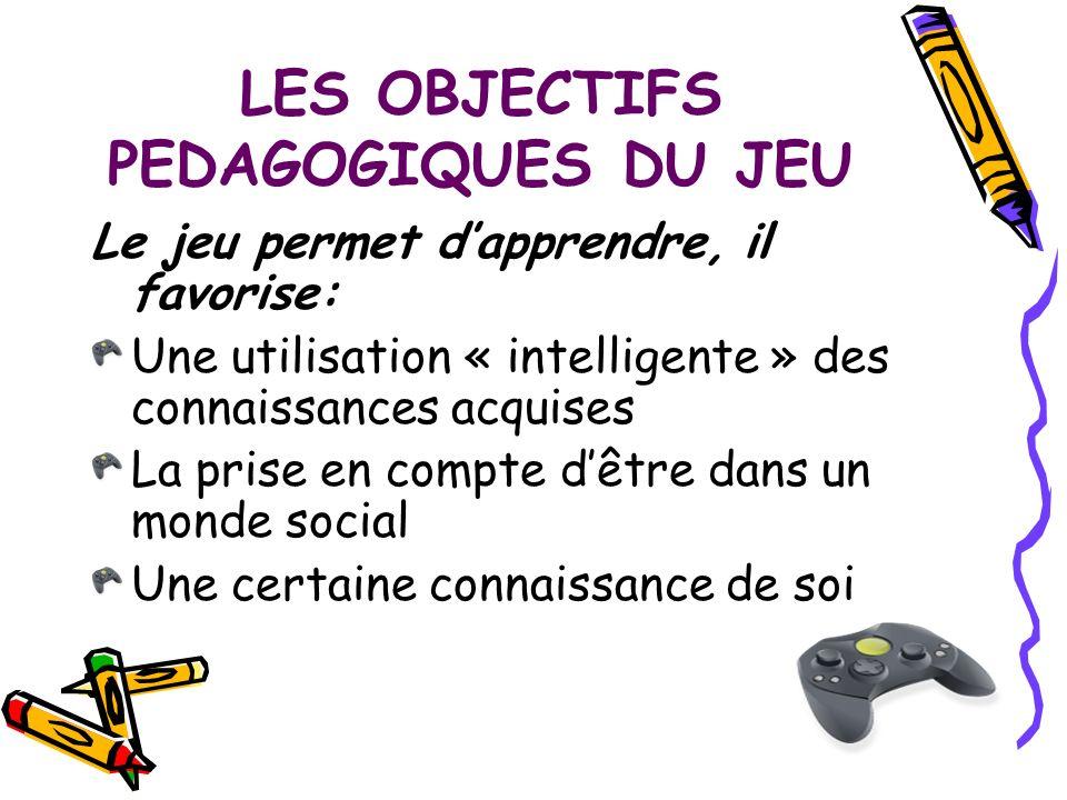 LES OBJECTIFS PEDAGOGIQUES DU JEU Le jeu permet dapprendre, il favorise: Une utilisation « intelligente » des connaissances acquises La prise en compt
