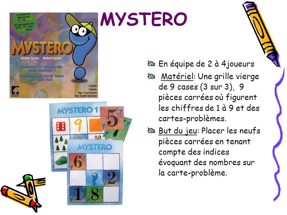 MYSTERO En équipe de 2 à 4joueurs Matériel: Une grille vierge de 9 cases (3 sur 3), 9 pièces carrées où figurent les chiffres de 1 à 9 et des cartes-p