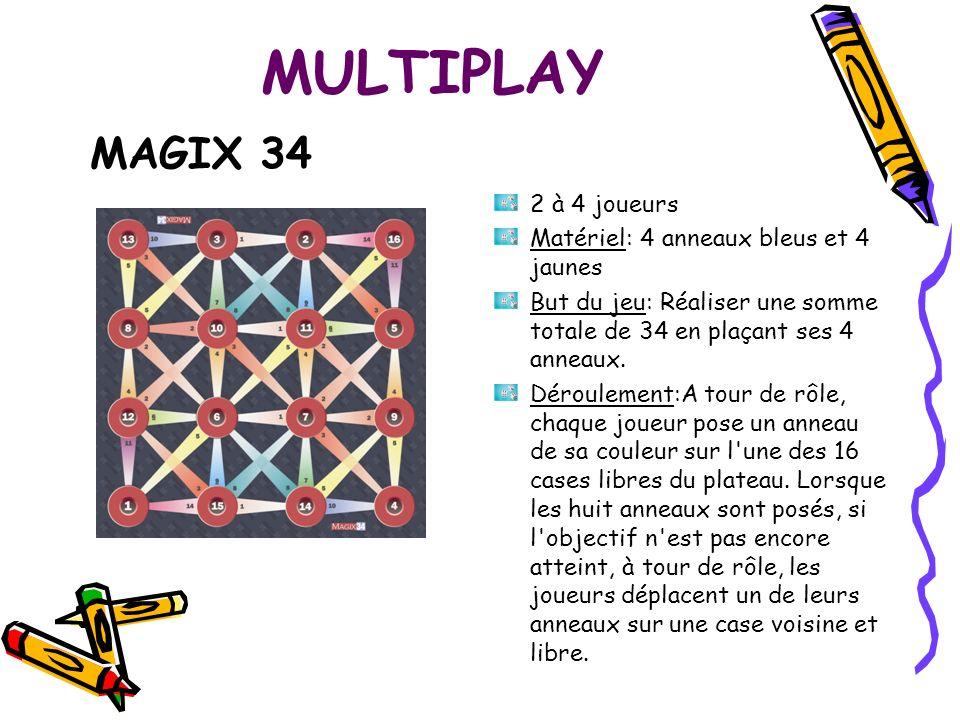 MULTIPLAY MAGIX 34 2 à 4 joueurs Matériel: 4 anneaux bleus et 4 jaunes But du jeu: Réaliser une somme totale de 34 en plaçant ses 4 anneaux. Dérouleme