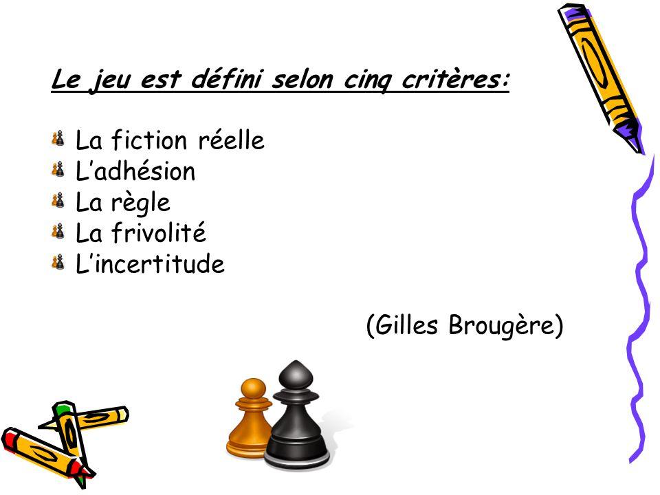Le jeu est défini selon cinq critères: La fiction réelle Ladhésion La règle La frivolité Lincertitude (Gilles Brougère)