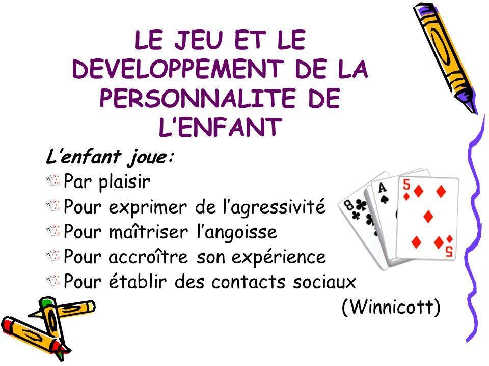 LE JEU ET LE DEVELOPPEMENT DE LA PERSONNALITE DE LENFANT Lenfant joue: Par plaisir Pour exprimer de lagressivité Pour maîtriser langoisse Pour accroît