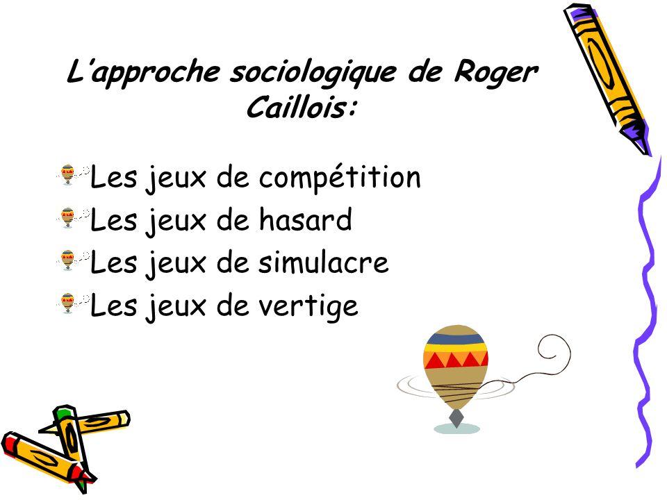 Lapproche sociologique de Roger Caillois: Les jeux de compétition Les jeux de hasard Les jeux de simulacre Les jeux de vertige