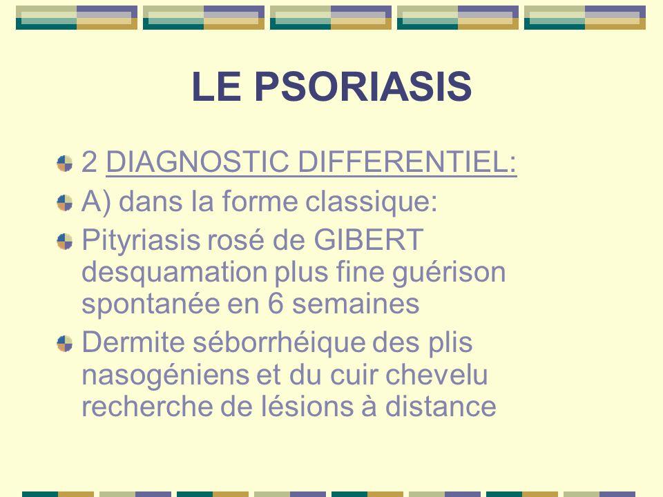 LE PSORIASIS B) dans les formes particulières: Mycoses des plis et des ongles érythrodermies dautres causes (eczéma toxidermies …)pso pustuleux difficile à différencier dun eczéma dishidrosique