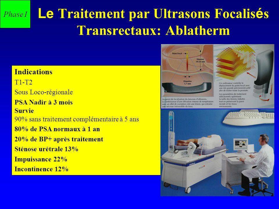 Le Traitement par Ultrasons Focalis é s Transrectaux: Ablatherm Indications T1-T2 Sous Loco-régionale PSA Nadir à 3 mois Survie 90% sans traitement co