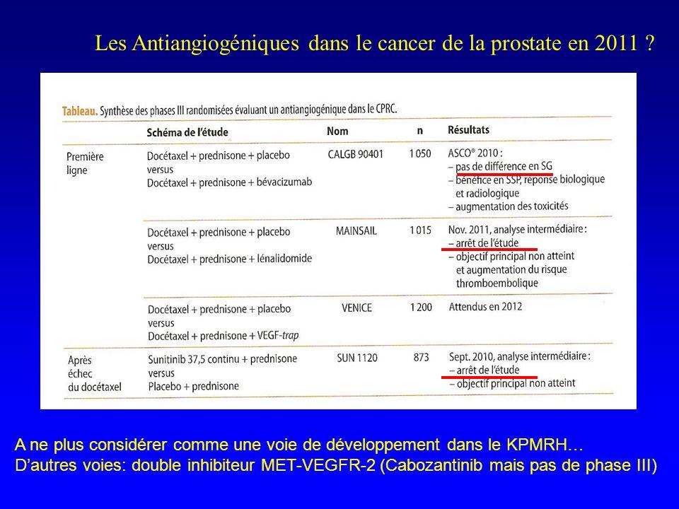Les Antiangiogéniques dans le cancer de la prostate en 2011 ? A ne plus considérer comme une voie de développement dans le KPMRH… Dautres voies: doubl