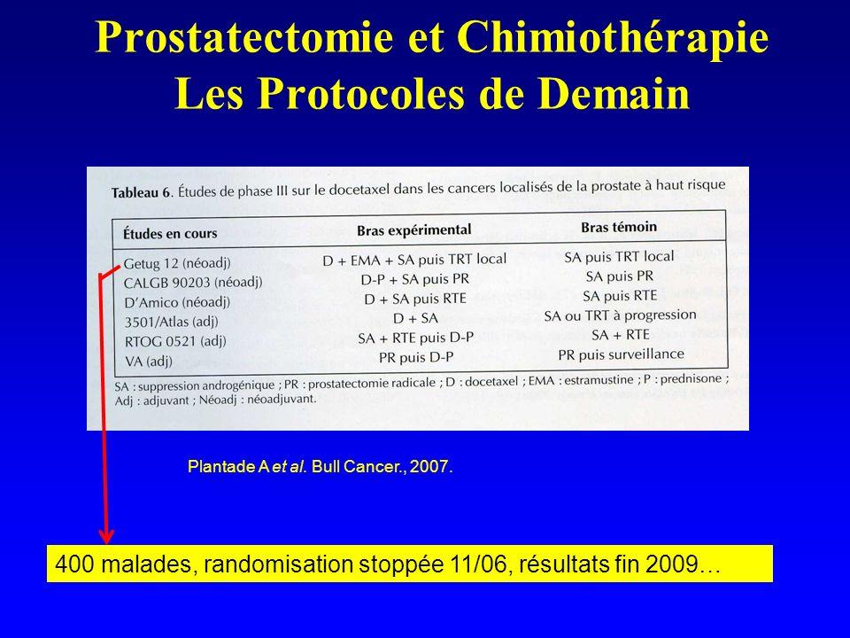 Prostatectomie et Chimiothérapie Les Protocoles de Demain Plantade A et al. Bull Cancer., 2007. 400 malades, randomisation stoppée 11/06, résultats fi
