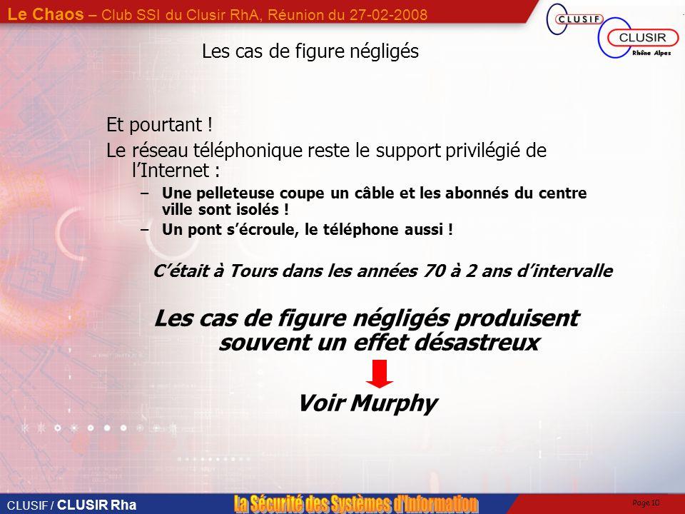 CLUSIF / CLUSIR Rha Le Chaos – Club SSI du Clusir RhA, Réunion du 27-02-2008 Page 9 Coupure Internet Y a-t-il une vie après lInternet ? Que se passera