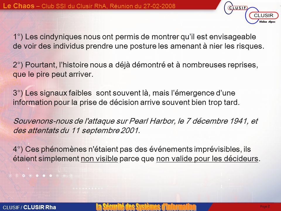 CLUSIF / CLUSIR Rha Le Chaos – Club SSI du Clusir RhA, Réunion du 27-02-2008 Page 1 1°) Les modèles de secours que nous sommes capable dactiver sont i