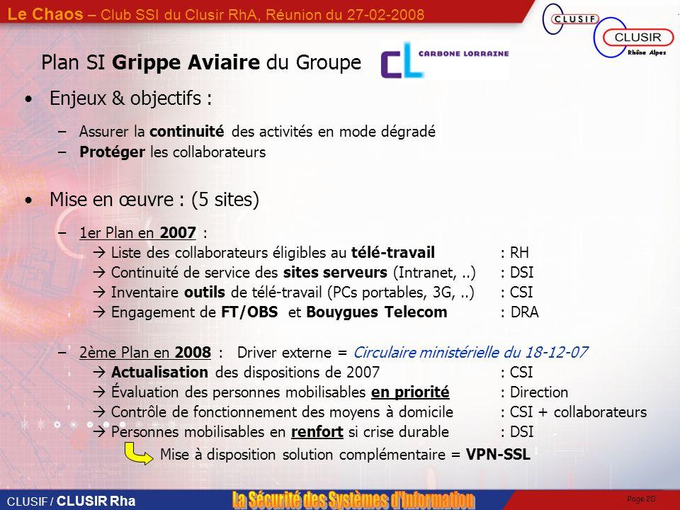 CLUSIF / CLUSIR Rha Le Chaos – Club SSI du Clusir RhA, Réunion du 27-02-2008 Page 19 Plan SI Grippe Aviaire du Groupe Le Groupe en CHIFFRES : –85 % de
