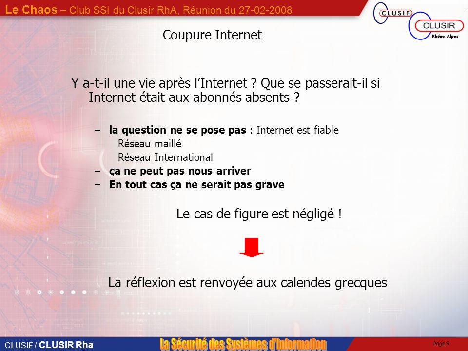 CLUSIF / CLUSIR Rha Le Chaos – Club SSI du Clusir RhA, Réunion du 27-02-2008 Page 9 Coupure Internet Y a-t-il une vie après lInternet .