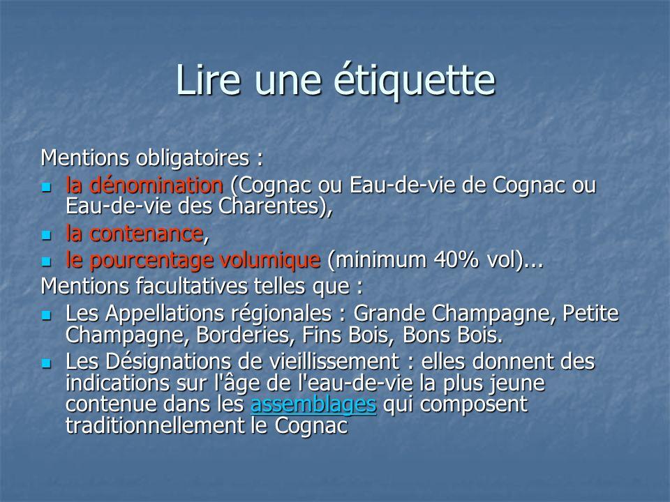 Lire une étiquette Mentions obligatoires : la dénomination (Cognac ou Eau-de-vie de Cognac ou Eau-de-vie des Charentes), la dénomination (Cognac ou Ea