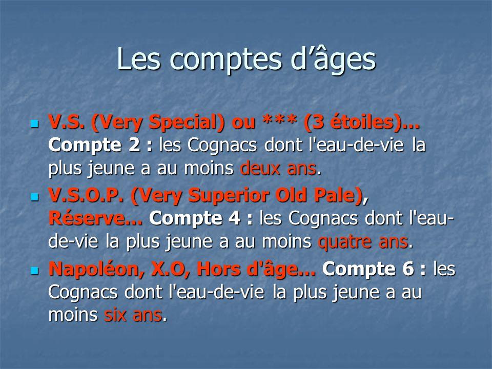 Les comptes dâges V.S. (Very Special) ou *** (3 étoiles)... Compte 2 : les Cognacs dont l'eau-de-vie la plus jeune a au moins deux ans. V.S. (Very Spe