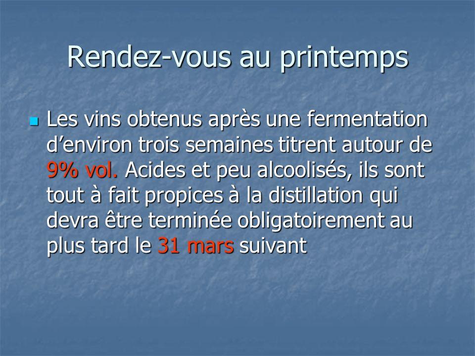 Rendez-vous au printemps Les vins obtenus après une fermentation denviron trois semaines titrent autour de 9% vol. Acides et peu alcoolisés, ils sont