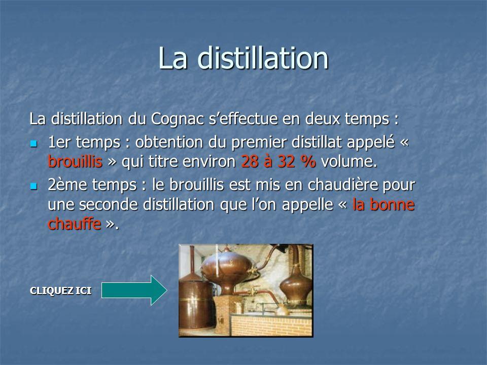 La distillation La distillation du Cognac seffectue en deux temps : 1er temps : obtention du premier distillat appelé « brouillis » qui titre environ
