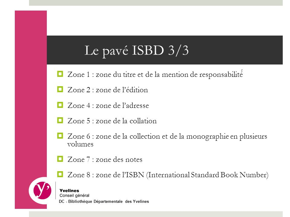 Le pavé ISBD 3/3 Zone 1 : zone du titre et de la mention de responsabilité Zone 2 : zone de lédition Zone 4 : zone de ladresse Zone 5 : zone de la col