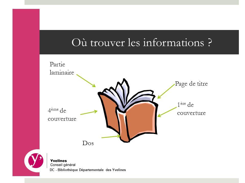 Où trouver les informations ? Partie laminaire Dos 4 ème de couverture Page de titre 1 ère de couverture DC - Bibliothèque Départementale des Yvelines