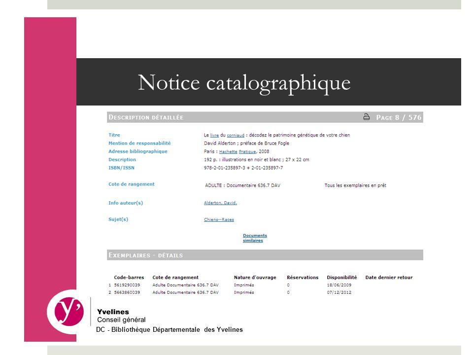 Notice catalographique DC - Bibliothèque Départementale des Yvelines