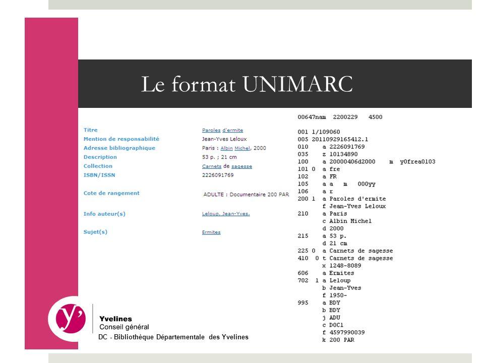 Le format UNIMARC DC - Bibliothèque Départementale des Yvelines