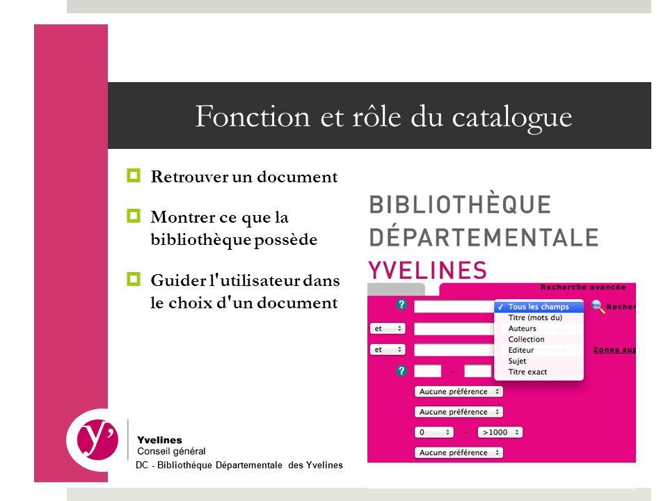Fonction et rôle du catalogue Retrouver un document Montrer ce que la bibliothèque possède Guider l'utilisateur dans le choix d'un document DC - Bibli