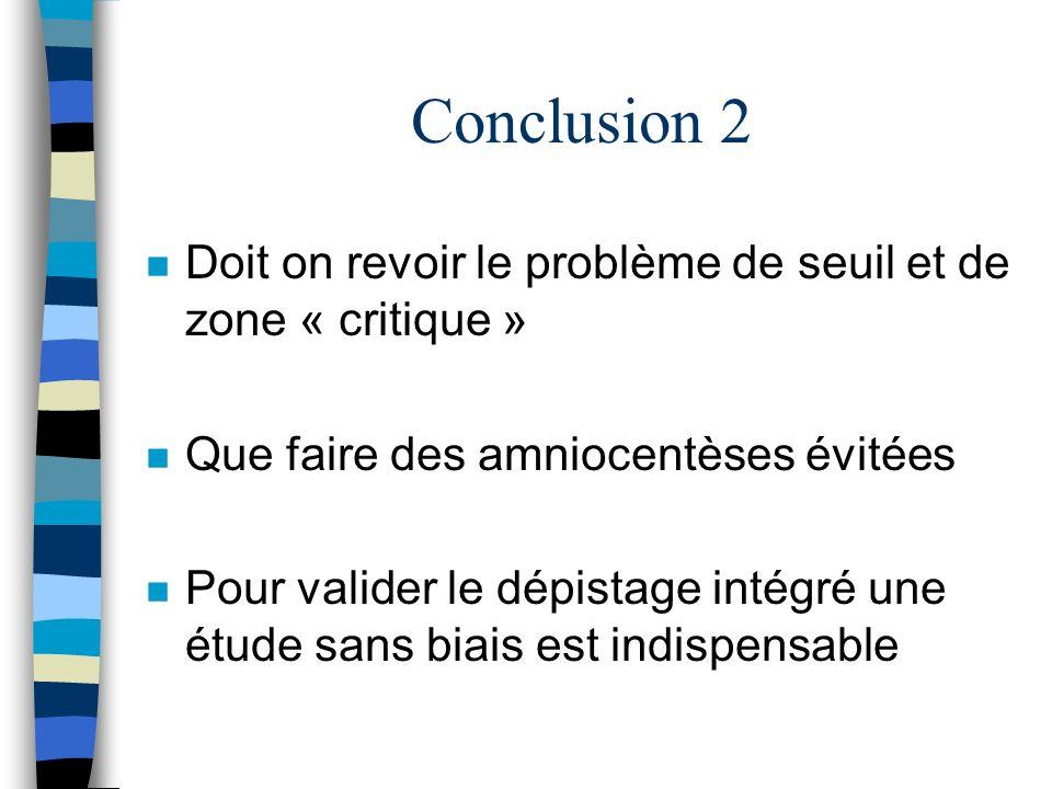 Conclusion 2 n Doit on revoir le problème de seuil et de zone « critique » n Que faire des amniocentèses évitées n Pour valider le dépistage intégré u
