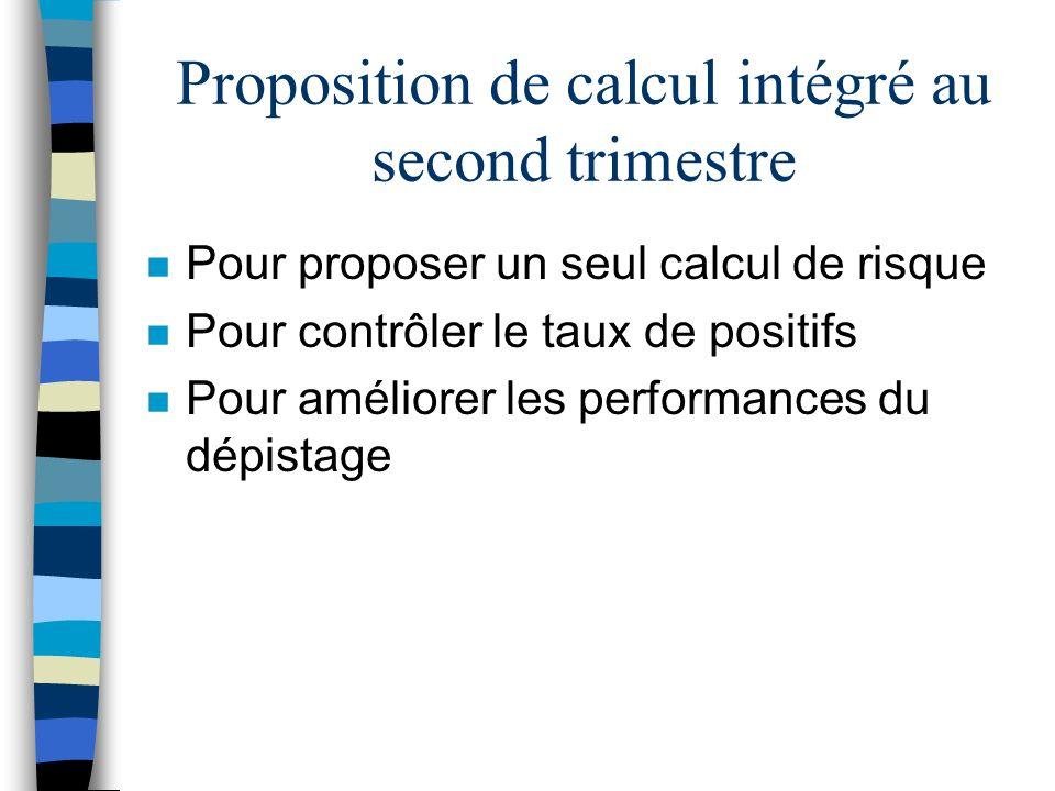 Proposition de calcul intégré au second trimestre n Pour proposer un seul calcul de risque n Pour contrôler le taux de positifs n Pour améliorer les p