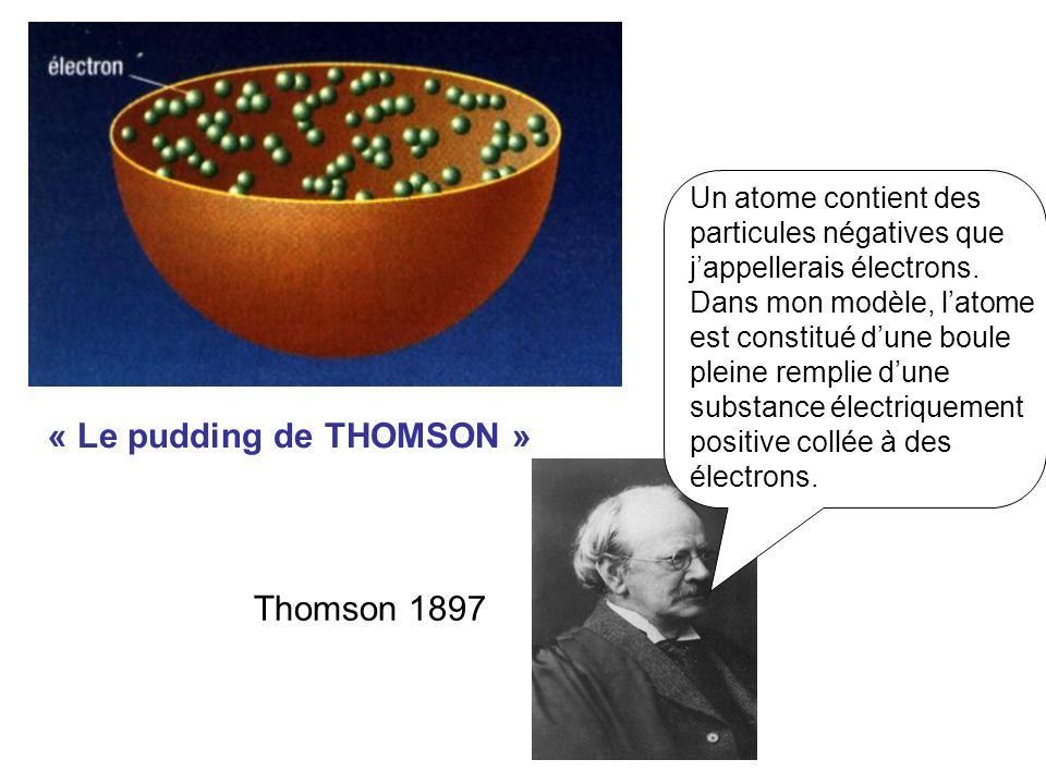 « Le pudding de THOMSON » Un atome contient des particules négatives que jappellerais électrons.